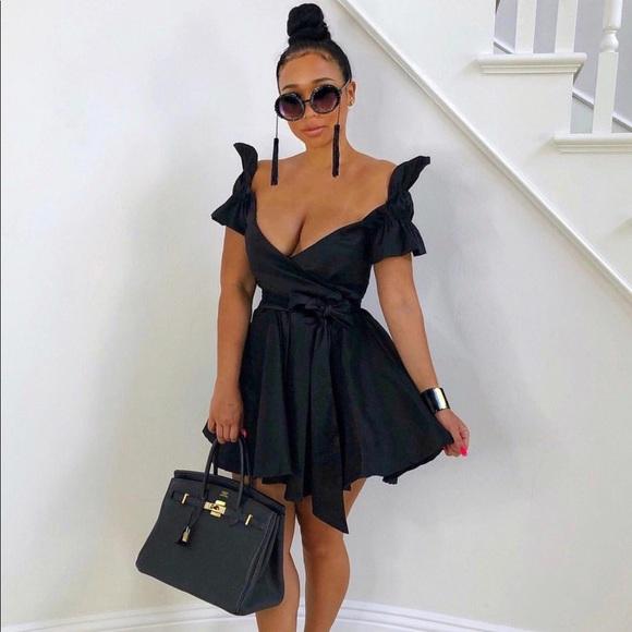 Asos Dresses Black Satin V Neck Skater Dress Poshmark